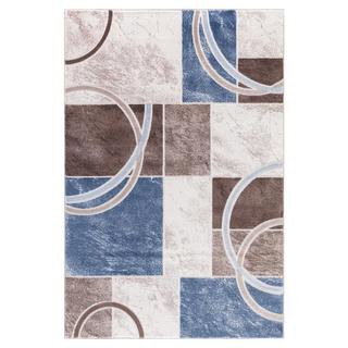 Persian Rugs Abstract Shapes/Arc with Tones of Blue Brown Cream Area Rug (5'2 x 7'2)