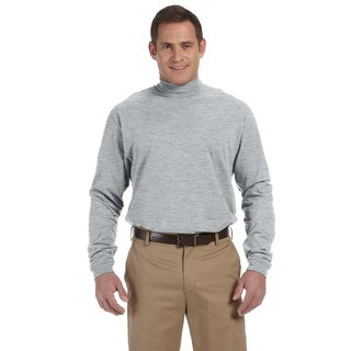 Sueded Men's Big and Tall Grey Heather Cotton Jersey Mock Turtleneck