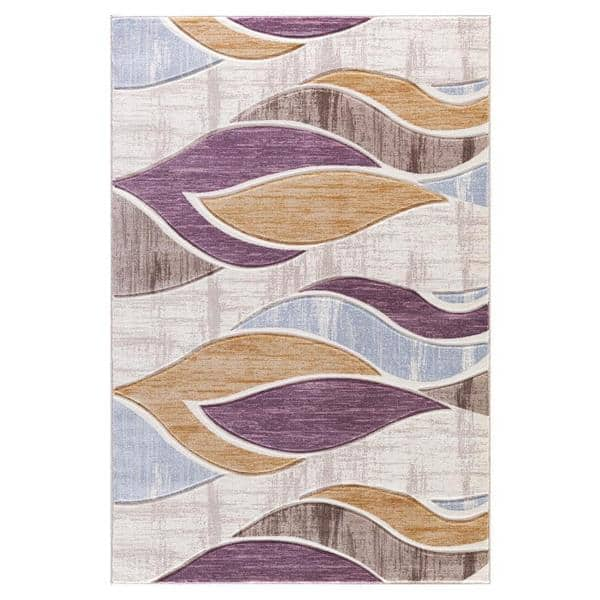 Shop Persian Rugs Neutral Color Waves Modern Designed Area