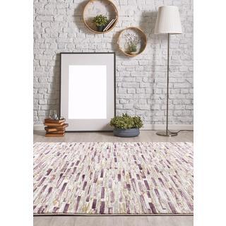 Persian Rugs Modern Bricks Design with Purple Cream Area Rugs (7'11 x 9'10)