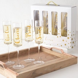 Gold Cheers Contemporary 8-ounce Clear Glass Champagne Flutes