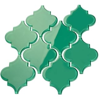 'Emerald Green' Arabesque Water Jet Tiles