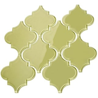 'Light Olive' Arabesque Water Jet Tiles