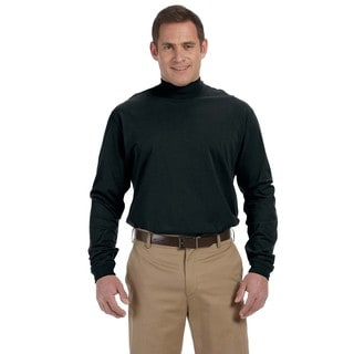 Sueded Men's Big and Tall Black Cotton Jersey Mock Turtleneck