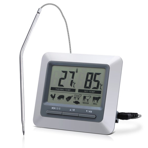 Instant Read Barbecue Grill Thermometer & Large LCD-display Digital Timer for Indoor/Outdoor Turkey/Steak Grilling