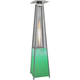Hanover Outdoor 7-foot 42,000 BTU Square Propane Patio Heater With Stainless Steel Frame and Multicolor LED Lighted Base