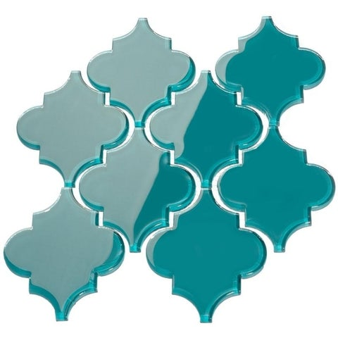 Dark Teal Arabesque Water Jet Tiles