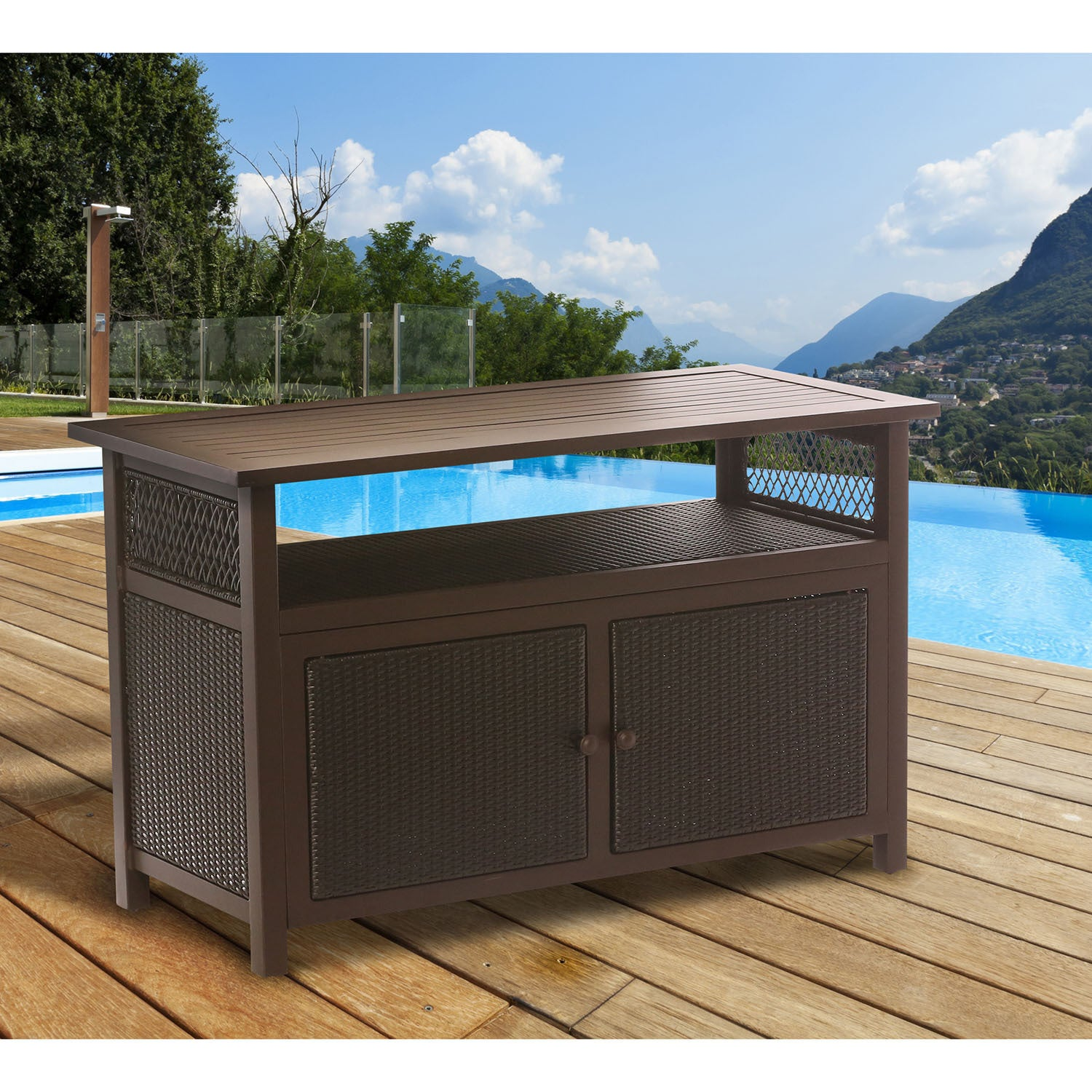 Hanover Outdoor HAN-Consoletbl Brown Wicker and Steel Con...