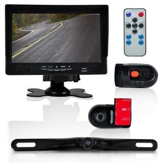 Pyle PLCMDVR72 DVR Dash Cam Vehicle Driving Video Camera & Monitor Kit Waterproof Rearview Backup Parking Camera, 2 Interior DVR