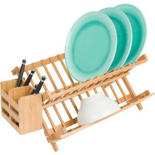 Trademark Innovations Natural Bamboo Folding Dish Rack with Utensil Holder