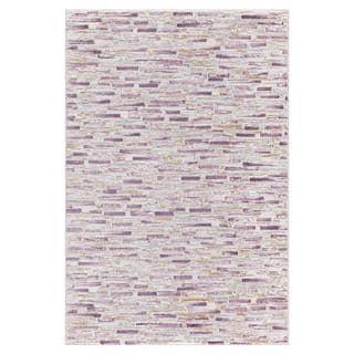 Persian Rugs Modern Bricks Design with Purple Cream Area Rugs (5'2 x 7'2)