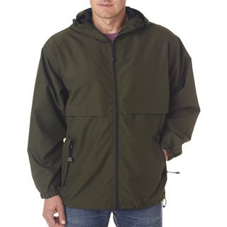 Microfiber Men's Big and Tall Olive Full-Zip Hooded Jacket