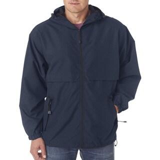 Microfiber Men's Big and Tall Navy Full-Zip Hooded Jacket