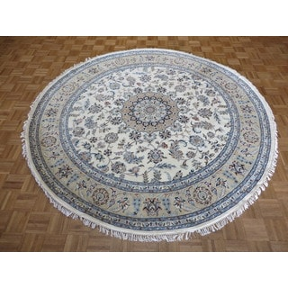 Hand Knotted Oriental Ivory Nain Wool and Silk Round Rug (8' x 8')