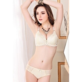 Sweet Embroidered Underwire Bra and Panty Set