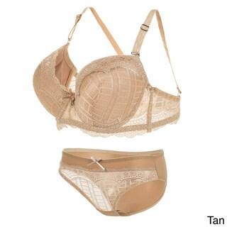 Graceful Lace Back Removable-strap Push-up Bra and Panty Set