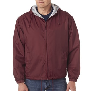 Men's Big and Tall -Lined Hooded Jacket Burgundy Fleece