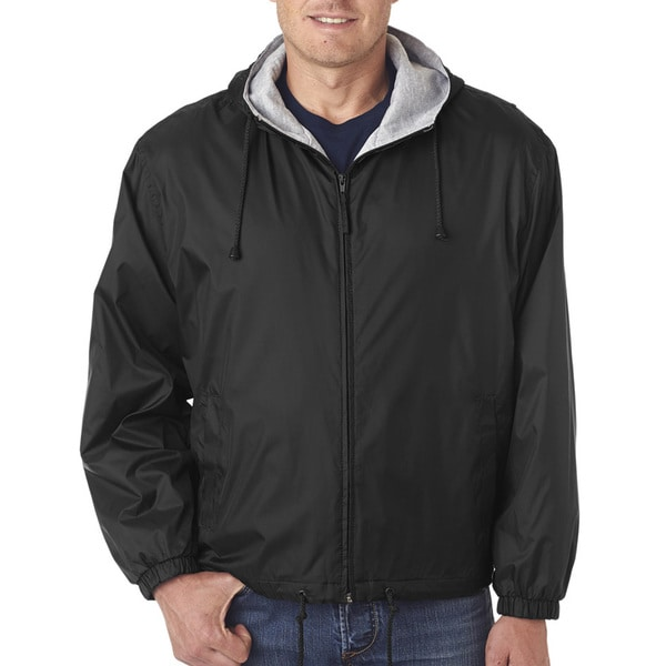 Mens Big and Tall -Lined Hooded Jacket Black Fleece