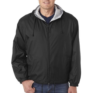 Men's Big and Tall -Lined Hooded Jacket Black Fleece