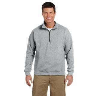 Men's Big and Tall Vintage Classic Quarter-Zip Cadet Collar Sport Grey Sweatshirt