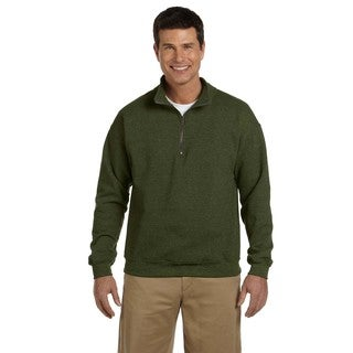 Men's Big and Tall Vintage Classic Quarter-Zip Cadet Collar Moss Sweatshirt