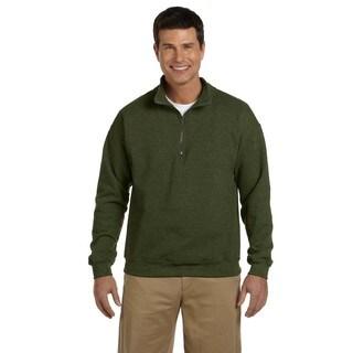 Men's Big and Tall Vintage Classic Quarter-Zip Cadet Collar Moss Sweatshirt