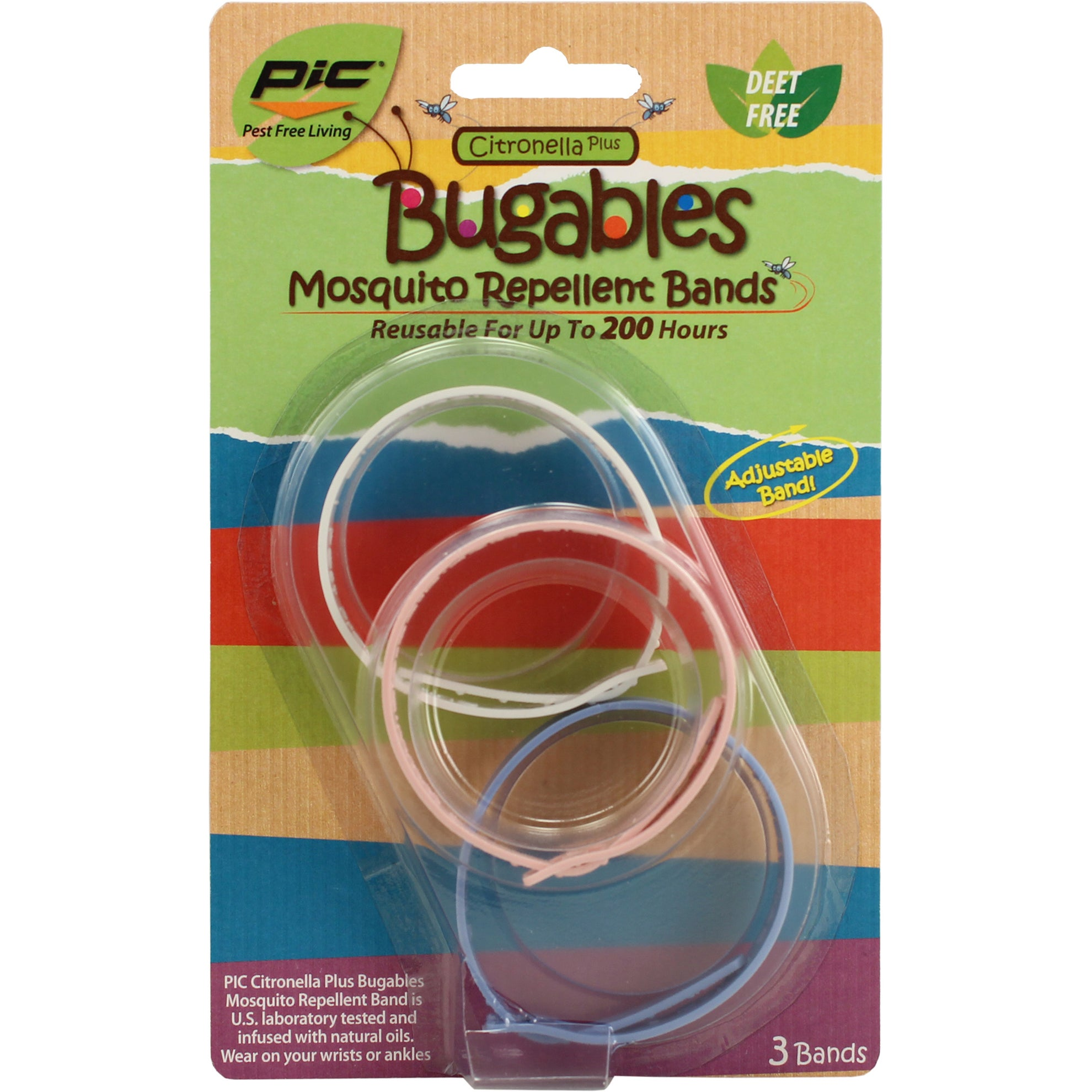 PIC BUG-BAND3 Mosquito Repellent Wristband Pack 3-count (...