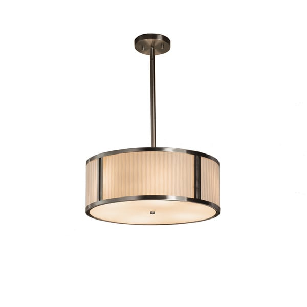 Justice Design Group Porcelina Tribeca 3-light Brushed Nickel Pendant, Waterfall Shade