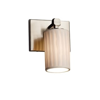 Justice Design Group Limoges Tetra Nickel Cylinder with Flat Rim Wall Sconce