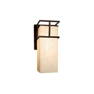 Justice Design Group Fusion Structure 1-light Dark Bronze Small Outdoor Wall Sconce, Droplet Shade