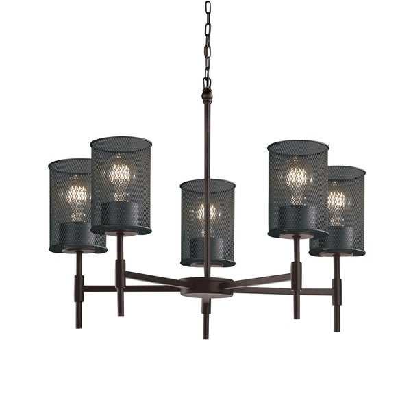 Justice Design Group Wire Mesh Union 5-light Matte Black Chandelier, Wire Mesh Cylinder - Flat Rim Shade