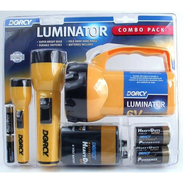 Dorcy 41-2865 6 Volt 2D and AA Cell Luminator Flashlight Combination Pac