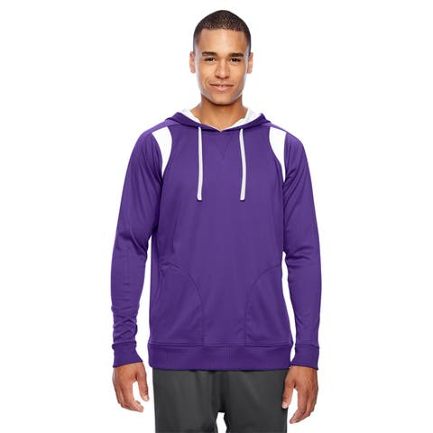 Elite Men's Big and Tall Sport Purple/White Performance Hoodie