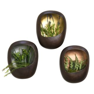 Danya B?Metal Wall Planter Set with Gold, Silver and Copper Leaf