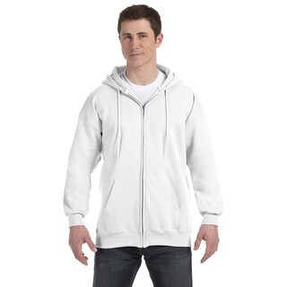 Men's Big and Tall White Ultimate Cotton 90/10 Full-Zip Hood (2 options available)