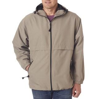 Microfiber Men's Tan Full-Zip Hooded Jacket