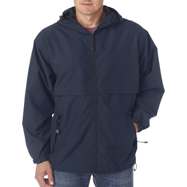 Microfiber Mens Navy Full-Zip Hooded Jacket (XL)