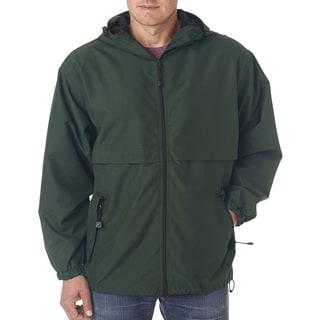 Microfiber Men's Forest Green Full-Zip Hooded Jacket