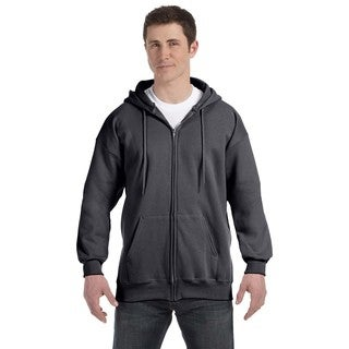 Men's Big and Tall Charcoal Heather Ultimate Cotton 90/10 Full-Zip Hood|https://ak1.ostkcdn.com/images/products/12397355/P19218284.jpg?_ostk_perf_=percv&impolicy=medium