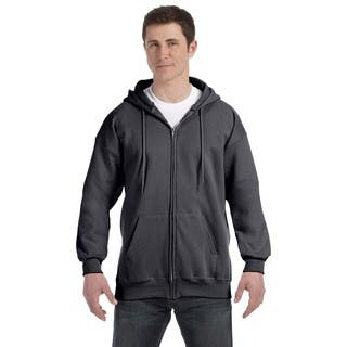 Men's Big and Tall Charcoal Heather Ultimate Cotton 90/10 Full-Zip Hood|https://ak1.ostkcdn.com/images/products/12397355/P19218284.jpg?impolicy=medium