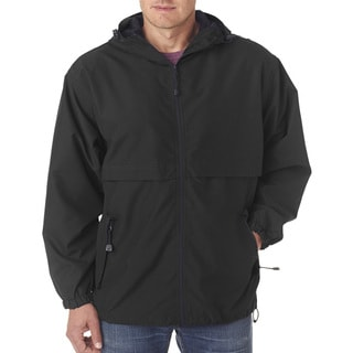 Microfiber Men's Black Full-Zip Hooded Jacket (XS,XL)