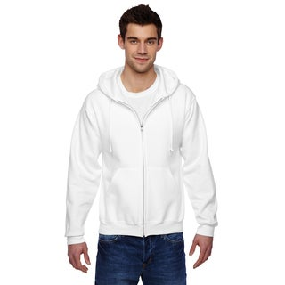 Men's Big and Tall 50/50 Super Sweats Nublend Fleece Full-Zip White Hood