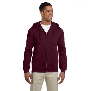 Men's Big and Tall 50/50 Super Sweats Nublend Fleece Full-Zip Maroon Hood