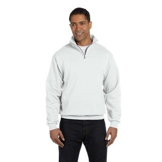 Men's Big and Tall 50/50 Nublend Quarter-Zip Cadet Collar White Sweatshirt