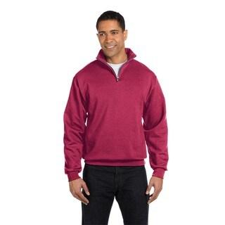Men's Big and Tall 50/50 Nublend Quarter-Zip Cadet Collar Vintage Heather/Red Sweatshirt