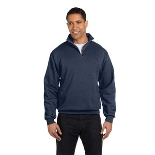 Men's Big and Tall 50/50 Nublend Quarter-Zip Cadet Collar Vintage Heather/Navy Sweatshirt