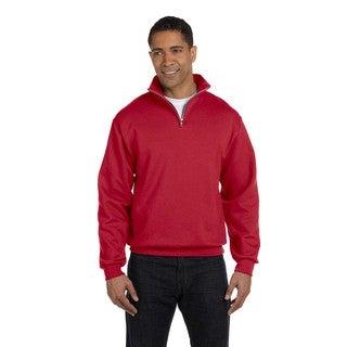 Men's Big and Tall 50/50 Nublend Quarter-Zip Cadet Collar True Red Sweatshirt