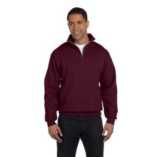 Men's Big and Tall 50/50 Nublend Quarter-Zip Cadet Collar Maroon Sweatshirt