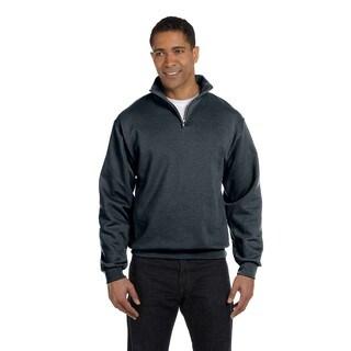 Men's Big and Tall 50/50 Nublend Quarter-Zip Cadet Collar Black Heather Sweatshirt