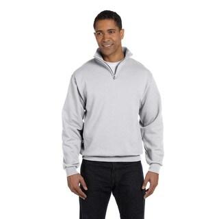 Men's Big and Tall 50/50 Nublend Quarter-Zip Cadet Collar Ash Sweatshirt